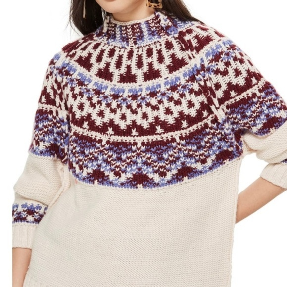 Topshop Sweaters - 🆕TopShop Reversible Fair Isle Mock Neck Sweater 4